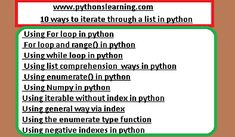 10 ways to iterate through a list in python While Loop, Linear Regression, Data Structures, Python Programming, Comprehension, Thats Not My