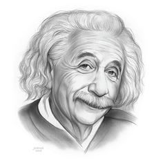 Wall Art - Drawing - Einstein by Greg Joens Realistic Pencil Drawings, Pencil Art Drawings, Drawing Sketches, Pencil Sketch Portrait, Portrait Sketches, Celebrities With Cats, Celebrity Drawings, Cute Cartoon Wallpapers, Hand Art