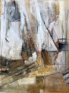 """Shifting Sails by Cecelia Rappaport Mixed Media ~ 40"""" x 30""""Mixed Media Abstract Painting, Sail Boat Painting, Nautical Art, Sailing """"Shifting Sails"""" by California Artist Cecelia Catherine Rappaport"""