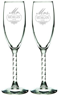 Amazon.com | Set of 2 Personalized Wedding Champagne Flutes- Mr and Mrs Design - Engraved Flutes for Bride and Groom Gift for Customized Wedding Gift: Champagne Glasses