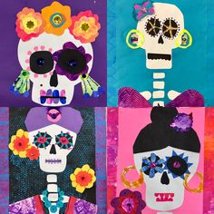 & grade day of the dead collages halloween дети, мексика. Halloween Art Projects, Theme Halloween, Fall Art Projects, School Art Projects, Halloween Crafts For Kids, October Art, Bricolage Halloween, Day Of The Dead Art, 4th Grade Art