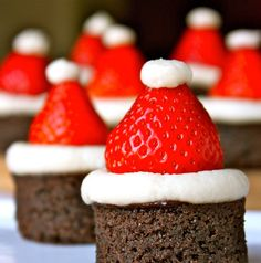 santa hat brownies... These call for an ingredient called mascarpone cheese .. Here's a substitute  for it.  1 8 oz cream cheese, 1/4 c sour cream, & 1/8 - 1/4 c whipping cream.