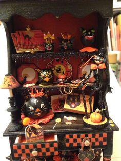 Small Halloween cat cabinet