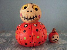 Halloween Skull Head with Pumpkin Body