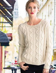 Vogue Knitting Early Fall 2015 #14 Cabled Pullover by Debbie Bliss