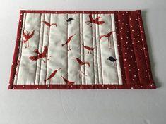 Red and White Quilted Mug Rug, Polka Dot Candle Mat, Bird Print Mug Rug, Quiltsy Handmade