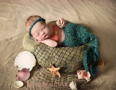 Mermaid tail and bikini top knit pattern - baby's first photos