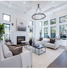 50 Excellent Formal Living Room Decor Ideas And Remodel – Decoration ideas Coastal Living Rooms, Formal Living Rooms, Home Living Room, Interior Design Living Room, Living Room Designs, Living Room Decor, Living Room With Windows, Living Room Ceiling Ideas, Hamptons Living Room