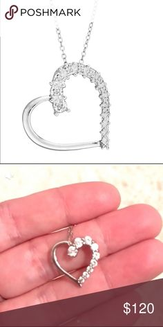 SS White Ice .04ct Diamond Heart Earrings Heart//Love