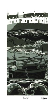 Liz Myhill - artist on Skye. This a painting but a similar idea would make a lovely landscape quilt or print Linocut Prints, Art Prints, Naive Art, Wood Engraving, Tampons, Beach Art, Woodblock Print, Art Techniques, Japanese Art