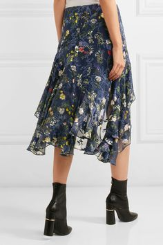Preen by Thornton Bregazzi - Laboni Floral-print Devoré Silk-blend Chiffon Midi Skirt - Navy - small