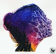 Art inspired by double exposure photography & geometric patterns . . . #art #watercolor #painting #illustration #watercolorpainting #watercolorart #doubleexposure #photography #sky #sunrise #stars #portrait