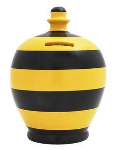 Stripe Money Pot Black and Yellow - D33