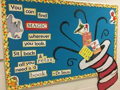 Super Class Room Door Ideas Dr Seuss Bulletin Boards Ideas Informations About Super Class Room Dr Seuss Bulletin Board, Reading Bulletin Boards, Bulletin Board Display, Classroom Bulletin Boards, Preschool Classroom, Classroom Themes, In Kindergarten, Reading Boards, Classroom Door