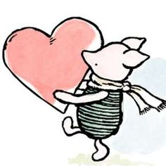 """Security Check Required - """"Piglet noticed that even though he had a Very Small Heart, it could hold a rather large amount of - Vintage Winnie The Pooh, Winnie The Pooh Quotes, Eeyore, Tigger, Disney Love, Disney Magic, Whinnie The Pooh Drawings, Piglet Tattoo, Valentines Watercolor"""