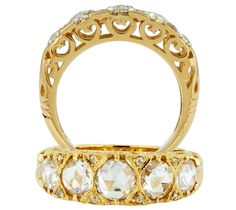 This rose-cut diamond filigree band by James Breski has a vintage look to it, especially with the rose-cut diamonds (1.22 cts.t.w.), 18k yellow gold, and filigree embellishments. And let's not forget the smaller round diamond accents. www.diamonds.pro