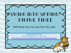 A March Rhyming Activity Packet:  Swing Into Spring Rhyme Time!