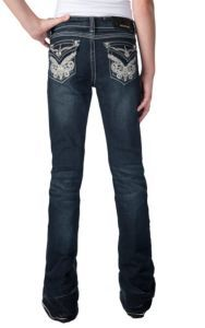 Grace in LA® Girl's Dark Wash with Swirl Embroidery & Crystal Accents Flap Pocket Boot Cut Jean | Cavender's