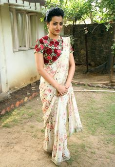 Shop Bollywood style Trisha Krishnan floral print georgette saree at Kollybollyethnics with Free shipping to UK, USA , Australia,Canada and many countries.