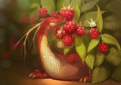 "Fruit Dragons, les créatures ""fantasy"" de GaudiBuendia : raspberry"