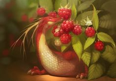 "Fruit Dragons, les créatures ""fantasy"" de GaudiBuendia : raspberry"