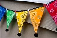 Bandana Flag Bunting.....rick rack + pom poms.....couldn't be more perfect for theme!
