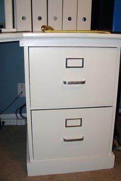 old metal filing cabinet repurposed to furniture