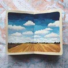My kind of place. Sketchbook Inspiration, Art Sketchbook, Painting Inspiration, Art Inspo, Gouache Painting, Painting & Drawing, Watercolor Paintings, Watercolor Art Landscape, Watercolour