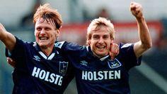 Two Tottenham legends of yesteryear and my footballing idols growing up, Teddy Sheringham & Jürgen Klinsmann Retro Football, Football Soccer, Football Players, Football Stuff, Tottenham Hotspur Players, London Pride, Spurs Fans, White Hart Lane, Heroes