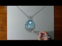How I draw an aquamarine necklace - YouTube