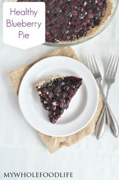 Healthy Blueberry Pie.  The classic dessert made healthier.  No refined sugar, no refined flour and very easy to make!  #vegan #glutenfree #paleo #healthyrecipe