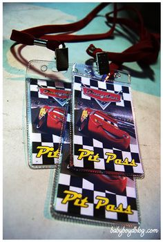 """Cars Themed Party - """"Pit Pass"""""""