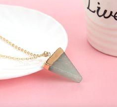 Geometric Triangle Gem Necklace