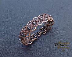 Women cuff copper bracelet with hematite,women cuff bracelet,copper cuff bangle bracelet for women,jewelry gift ideea for her,bead bracelet