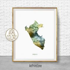 Peru Art, Peru Print, Office Art Print, Watercolor Map Peru Map Print, Map Art Map Artwork Office Decorations, Country Map, Art Print Zone