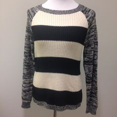 Black and cream striped sweater Textured design on front. 60% cotton, 40% acrylic. American Living Sweaters Crew & Scoop Necks