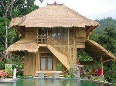 Unique Bamboo House Minimalist and Modern. Please read the article Unique Bamboo House Minimalist and Modern more at Home Design Architectures Bamboo Architecture, Architecture Design, Style At Home, Exterior Design, Interior And Exterior, Filipino House, Bamboo House Design, Hut House, Philippine Houses