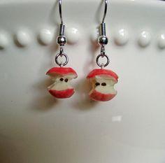 Red Apple Core Earrings  Miniature Food Jewelry by Artwonders, $10.00