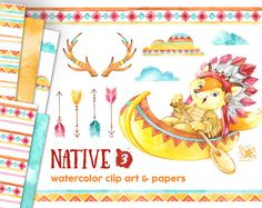 3 nativos. Imágenes Prediseñadas acuarela y papeles digitales indio, plumas, nativo americano, las cornamentas, tribal, saludos, canoa diy, invitación,