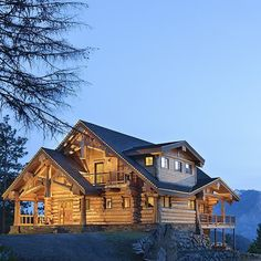 River Bend log home designed by Summit Mountain Design of Boise ID.