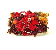 Autumn jewelry/Beaded bracelet/Colorful bead cuff/Unique by ibics