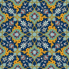 Illustration of Arabesque seamless pattern in editable vector file vector art, clipart and stock vectors. Islamic Motifs, Islamic Tiles, Islamic Art Pattern, Persian Pattern, Persian Motifs, Abstract Pattern, Pattern Art, Arabesque Pattern, Vector Art