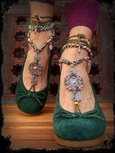 Woodland FAIRY BAREFOOT sandals Army Green Tribal by GPyoga, $89.00