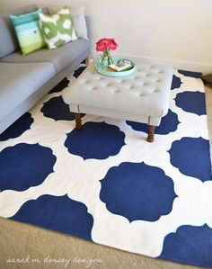DIY Paint Projects: Moroccan rugs can be very expensive, but you can get the look for a lot less by painting a plain rug using a stencil. This also gives you the option of choosing the exact color you want. How to Paint a Moroccan-Style Rug