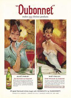 Vermouth by Dubonnet. Alcohol Vintage poster / vieille affiche publicitaire d'alcool. Drink ads.