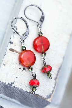 Orange red earrings summer Persimmons tomato by beesandbuttercups, $19.00