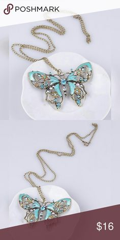 NEW! Butterfly Enameled Sweater Chain & Pendant Beautiful! New in pkg, large Butterfly turquoise enameled pendant, with inlaid rhinestones. On an extra long sweater chain, in gold tone finish. Only 2 available! GREAT gift idea! Same, or next day shipping!  No TRADE Jewelry Necklaces