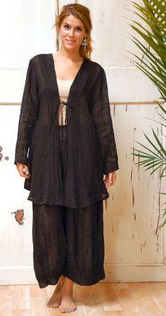Kleen Flax Linen Tie Front Cardi Bias Swing Jacket Flare Top 1x Black Gauze   eBay