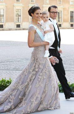 Crown Princess Victoria with daughter Princess Estelle, Duchess of Östergötland and father Prince Daniel, Duke Of Västergötland.