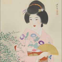 Girl in Autumn Garden  by Ito Shinsui